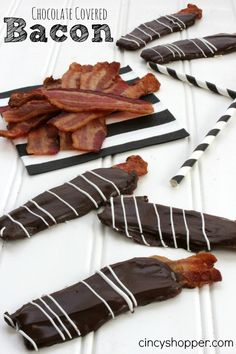 Chocolate Covered Bacon. So YUMMY!  Made these for Easter Baskets (wrapped in a cello bag and tied on a bow). Hubby LOVES Chocolate Covered Bacon!