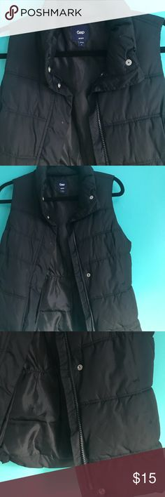 Black Gap puffer vest Thick vest with buttons and women-fit cinched back. Fits great, keeps you so warm!! GAP Jackets & Coats Vests
