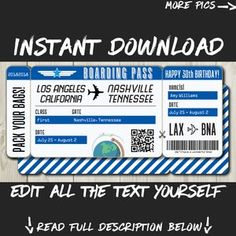 DIY Printable Editable Boarding Pass Surprise Fake Airline | Etsy Boarding Pass Template, Ticket Template, Printable Tickets, Happy 30th Birthday, Lottery Tickets, Retirement Parties, Travel Gifts, Text You, Party Invitations