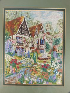 Vintage Embroidery - Cottage Garden Manor Scene - 1930 / 50's (121129-130-6 / 12-11894-EY/RC) - For Sale £75.00 with Rhodons Collectables