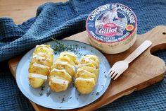 Recette - Pommes de terre à la suédoise farcies au camembert en pas à pas Beignets, Camembert Cheese, Entrees, Recipies, Food And Drink, Bread, Flan, 20 Minutes, Pains