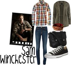 An outfit based on Sam Winchester from Supernatural Supernatural Inspired Outfits, Supernatural Fashion, Supernatural Cosplay, Supernatural Clothes, Supernatural Imagines, Winchester Supernatural, Castiel, Nerd Outfits, Fandom Outfits