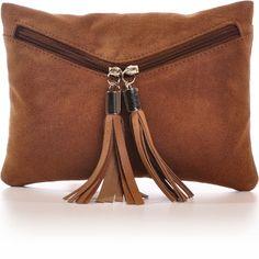 CNTMP, Damen Handtaschen, Clutches, Clutch, Unterarmtaschen, Abendtaschen, Party-Bags, Trend-Bags, Velours, Veloursleder, Wildleder, Fransen