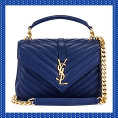 Saint Laurent Medium College Monogramme Bag in Royal Blue New Saints, Small Leather Goods, Handbags, Quilted Leather, Blue Bags, Shoulder Pads, Happy Shopping, Royal Blue, Yves Saint Laurent