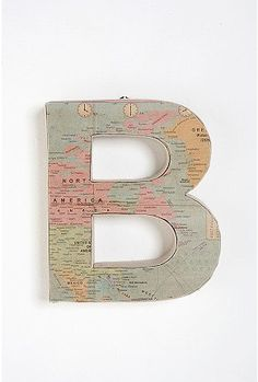 Monogram out of a vintage map on a wood letter.      Add Mod Podge?  YES!