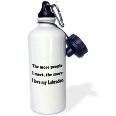 3dRose The more people I meet the more I love my Labrador, Sports Water Bottle, 21oz