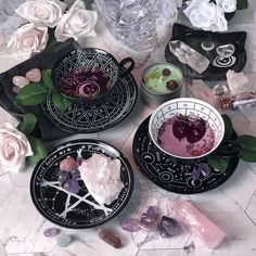 KILLSTAR Tea Cups and Catch All Dish We're all mad here. Sip on yer tea. Some things are written in the stars, others you can read in tea leaves. Zodiac Cup & Saucer + Cosmic Tea Cup & Saucer + Blessed Be Catch All Dish +Rose Quartz Witch Craft, Witch Decor, Modern Witch, Witch Aesthetic, Ceramic Cups, Book Of Shadows, Tea Cup Saucer, Cup Of Tea, Tea Time