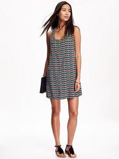 Printed Twist-Back Shift Dress for Women