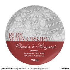 Shop Ruby Wedding Anniversary Photo Dinner Plate created by PersonalExpressions. Wedding Anniversary Photos, Homemade Anniversary Gifts, Homemade Wedding Gifts, Anniversary Dinner, Anniversary Gifts For Couples, First Anniversary, Wedding Photos, Anniversary Ideas, Birthday Gifts For Sister