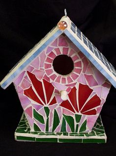 Stained Glass Mosaic bird house. Marlene Outlaw
