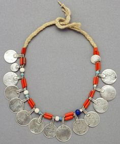 Morocco | Berber necklace; silver, coral, vegetal fiber and glass beads | African Museum (Belgium) Collection; acquired 1989