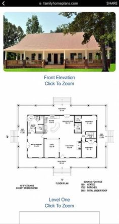 One Story Floor Plans with Wrap Around Porch. 23 One Story Floor Plans with Wrap Around Porch. Small Cottage Home Plans with Wrap Around Porch House Plans One Story, New House Plans, Dream House Plans, Small House Plans, House Floor Plans, Ranch Style Floor Plans, Open Floor House Plans, Small Floor Plans, Pole Barn House Plans