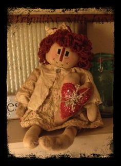 "Primitive Raggedy Doll, Flowers, Chenille Valentines Heart Ornie Go to Facebook and search ""Primitive with Luv!"" and ""like"" my page to see more! :)"
