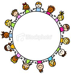 multi ethnic happy children holding hands with banner cartoon illustration Royalty Free Stock Vector Art Illustration
