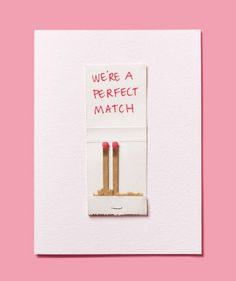 DIY Valentine's Day Card made with a matchbook. I better have a Valentine next year so I can do this. Valentine Love, Homemade Valentines, Valentine Day Crafts, Holiday Crafts, Holiday Fun, Valentine Cards, Valentine Ideas, Valentine Decorations, Holiday Parties