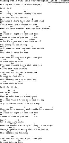 Love Song Lyrics for: Waiting For A Girl Like You-Foreigner with chords for Ukulele, Guitar Banjo etc.