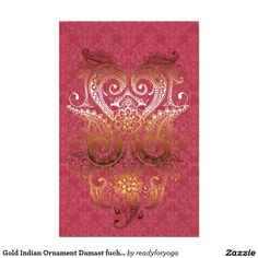 Gold Indian Ornament Damast fuchsia delux pattern Stationery