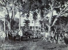 Groepsportret voor (vermoedelijk) het plantagehuis. Overwegend Hindostanen en Javanen.  Datum: Locatie: Commewijne, Suriname Vervaardiger: toegeschreven aan Augusta Curiel Inv. Nr.: 74-19 Fotoarchief Stichting Surinaams Museum