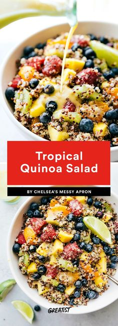 Tropical Quinoa Salad habit super food salad recipe 9 Fruit Salads That Will Impress the Hell Out of Every Barbecue Guest Chopped Salad Recipes, Summer Salad Recipes, Fruit Salad Recipes, Fruit Salads, Best Quinoa Salad Recipes, Summer Salads With Fruit, Summer Food, Quinoa Fruit Salad, Best Fruit Salad