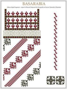 Semne Cusute: ie din MOLODOVA, Basarabia Cross Stitch Borders, Simple Cross Stitch, Cross Stitching, Folk Embroidery, Cross Stitch Embroidery, Embroidery Patterns, Textile Patterns, Knitting Patterns, Beading Patterns