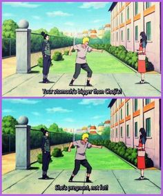 "(Naruto) Naruto: ""Your stomach is bigger than Choji's!"" Shikamaru: ""She's pregnant, not fat!"