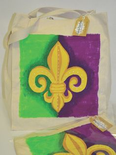 Mardi Gras Hand Painted Tote Bag — Party Cup Express