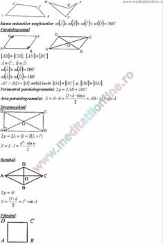 Formule matematica gimnaziu 5 8 Formule si teorie Geometrie plana si in spatiu si Trigonometrie pagina 9 Desktop, Chart, French, Math, School, Geometry, French Language, Math Resources, Schools
