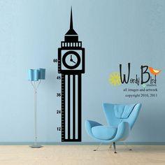 Vinyl Wall Decal Sticker Art  Big Ben Growth by wordybirdstudios