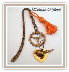 """Marque pages """"Steampunk"""" orange jaune . Metal bronzé. : Marque-pages par perles-et-couronnes"""