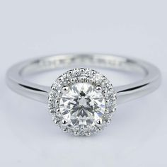 This beautiful Pave Halo Diamond Engagement Ring in White Gold is on its way to one soon very happy individual. Round Solitaire Engagement Ring, Dream Engagement Rings, Three Stone Engagement Rings, Vintage Engagement Rings, Pretty Rings, Fashion Rings, White Gold, Proposals, Weddings