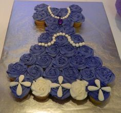 Pretty rose cupcake cake at a Sofia the First party.   See more party ideas at CatchMyParty.com.  #sofiathefirstpartyideas