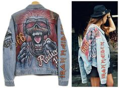 Hand painted IRON MAIDEN jeans JACKET//denim jacket//studded//with studs//rock jacket//levis jacket//radio hell//666// by DSMjeans on Etsy