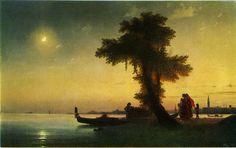 Ivan Aivazovsky Paintings-A bay Near Venice, 1842