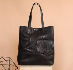 Black leather tote bag Tote leather large leather tote bag
