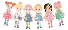 Mooshka were once paper doll friends. One day, they joined hands and through the power of friendship, they sprung into loveable, huggable girls. Paper Doll Chain, Paper Chains, Third Birthday Girl, Paper Dolls Clothing, Daisy Scouts, Corner Bookmarks, Doll Party, Soft Dolls, Paper Toys