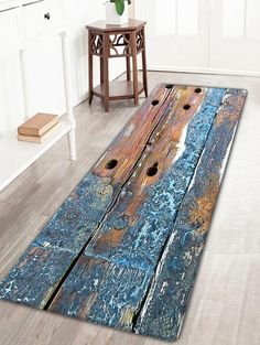 Retro Wood Grain Flannel Antiskid Rug