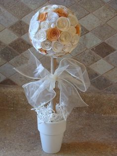 Off White, white and light orange/peach Rose Flower topiary for any party, wedding, baptism, baby shower, centerpiece or decoration