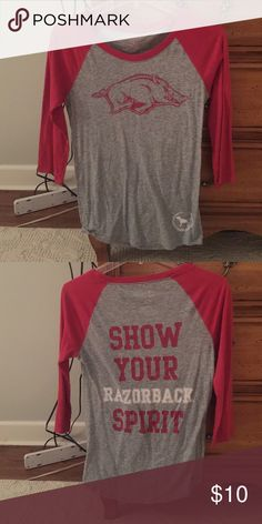 Razorback baseball tee Worn a few times but in great condition PINK Victoria's Secret Tops Tees - Long Sleeve
