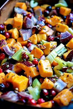 This Roasted Butternut Squash, Cranberries and Celery with Pecans, Rosemary and Lime has it all. It's spicy with a pinch of red pepper flakes, gets a citrus punch from the lime and tangy cranberries. Roasted and caramelized the vegetables are a fantastic side dish.