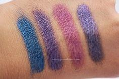Kiss My Sass Eyeshadow swatches on www.geniabeme.com (Sailors Kiss, Reign Over Me, Purple Poppy & Night Elf)
