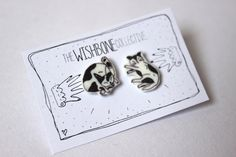 Black & White cat stud earrings Made by THE WISHBONE COLLECTIVE £5 Perfect for the nursery, children's kids bedrooms, lounges, decor, art, teepees, decorations, quirky, kitsch kawaii, sweet, japanese, foxes, hares, woodland animals, forest, nature, animals, whimsical, alternative, indie, gift, present, moomin, moomins, wedding, new born, baby, child, birthday, party, celebration, jewellery, jewelry, fashion, accessories, cats, cat lover, funny