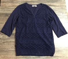 Chico's Shirt Quarter Sleeve Top Blue Crochet Womens Sz 2*  | eBay