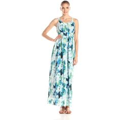 Marc New York by Andrew Marc Women's Sleeveless Monet Floral Maxi... ($63) ❤ liked on Polyvore featuring dresses, floral dress, blue maxi dress, floral print maxi dress, pleated dress and floral maxi dress