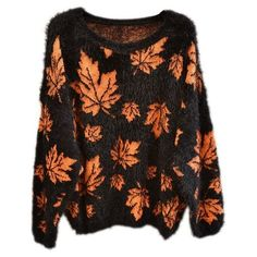 Lady's Knitted Fluffy Maple Leaf Leaves Print Neon Colour Jumper Top... (91 PLN) ❤ liked on Polyvore featuring tops, sweaters, shirts, neon sweater, neon shirts, jumpers sweaters, neon top and shirt top
