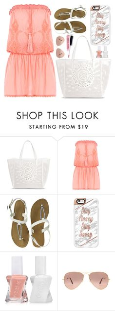 """Untitled #674"" by looks-lie ❤ liked on Polyvore featuring Merona, Melissa Odabash, Casetify, Essie, Ray-Ban and Avon"