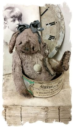 """Wee Little design size aged light faded brown rabbit handmade by Wendy Meagher of Whendi's Bears *** Aprrox. 5"""" Tall - Antique Style aged..."""