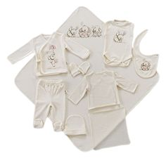 100 Organic Printed Baby New Born Set - 10 Piece includes: Long Sleeve Side Read  more http://shopkids.ca/100-organic-cotton-10-pcs-baby-clothes-newborn-gift-set-pink-rabbit/