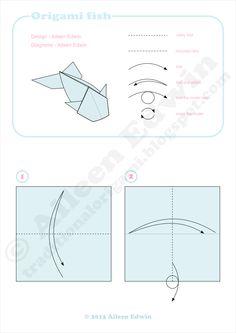 Origami fish diagrams