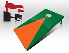 Buy Green and Orange Pyramid Cornhole Game Boards USA :  Pick a striped or #pyramid design or send us your design then add a team fathead #sticker and there you have it from shophomecomingsports.com