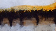 Original abstract landscape Contemporary art Decor art Black, orange, gold  Acrylic paint and ink on paper 100 % cotton (140 lb)  Dimensions 13 inches * 7, 5 inches 33 cm * 19 cm  Original work titled, dated and signed on the back